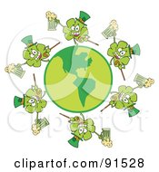 Royalty Free RF Clipart Illustration Of A Circle Of Shamrocks Running Around A Globe With Beer