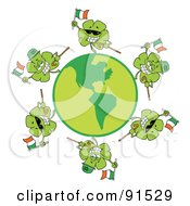Royalty Free RF Clipart Illustration Of A Circle Of Shamrocks Running Around A Globe With Irish Flags And Canes