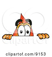 Clipart Picture Of A Flame Mascot Cartoon Character Peeking Over A Surface