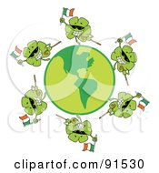 Royalty Free RF Clipart Illustration Of A Circle Of Shamrocks Running Around A Globe With Irish Flags Shades And Canes
