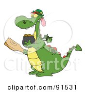 Royalty Free RF Clipart Illustration Of A Dragon Leprechaun Holding A Mace And Pot Of Gold