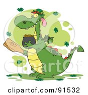 Royalty Free RF Clipart Illustration Of A Dragon Leprechaun With Clovers Holding A Mace And Pot Of Gold