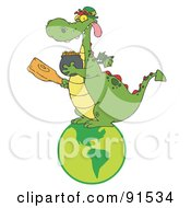 Royalty Free RF Clipart Illustration Of A Dragon Leprechaun On A Globe Holding A Mace And Pot Of Gold by Hit Toon