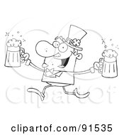 Royalty Free RF Clipart Illustration Of An Outlined Male Leprechaun Running With Beers