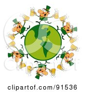 Royalty Free RF Clipart Illustration Of A Circle Of Male Leprechauns Running Around A Globe With Beer