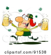 Royalty Free RF Clipart Illustration Of A Female Leprechaun Running Through Clovers With Beers