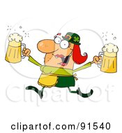 Royalty Free RF Clipart Illustration Of A Female Leprechaun Running With Beers