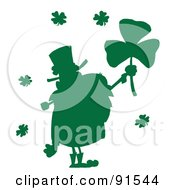 Royalty Free RF Clipart Illustration Of A Silhouetted Green Male Leprechaun Holding Up A Clover