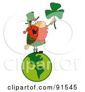 Royalty Free RF Clipart Illustration Of A Male Leprechaun Standing On A Globe And Holding Up A Clover