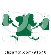 Royalty Free RF Clipart Illustration Of A Green Silhouetted Female Leprechaun Running With Beers
