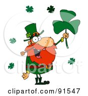 Royalty Free RF Clipart Illustration Of A Male Leprechaun Holding Up A Clover