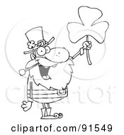 Royalty Free RF Clipart Illustration Of An Outlined Male Leprechaun Holding Up A Clover