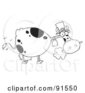 Royalty Free RF Clipart Illustration Of An Outlined St Patricks Day Cow Wearing A Hat And Chewing On A Clover