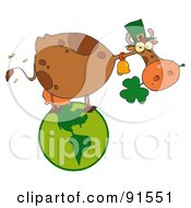 Royalty Free RF Clipart Illustration Of A St Patricks Day Cow Standing On A Globe And Chewing On A Clover