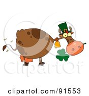 Royalty-Free (RF) Clipart Illustration of a St Patricks Day Cow Wearing A Hat And Chewing On A Clover by Hit Toon