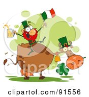 Royalty Free RF Clipart Illustration Of A Leprechaun Holding Up A Flag And Beer And Sitting On A Cow