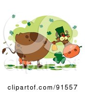 Royalty Free RF Clipart Illustration Of A St Patricks Day Cow Under Clovers Wearing A Hat And Chewing On A Shamrock