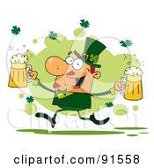 Male Leprechaun Running Through Shamrocks With Beers