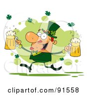 Royalty Free RF Clipart Illustration Of A Male Leprechaun Running Through Shamrocks With Beers