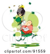 Royalty Free RF Clipart Illustration Of A Greedy Leprechaun Running Through Shamrocks With A Pot Of Gold Over His Head
