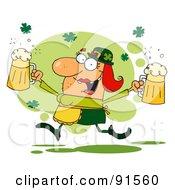 Female Leprechaun Running Through Shamrocks With Beers