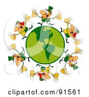 Royalty Free RF Clipart Illustration Of A Circle Of Male And Female Leprechauns Running Around A Globe With Beer