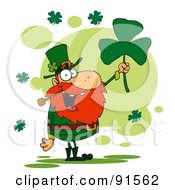 Royalty Free RF Clipart Illustration Of A Male Leprechaun Holding Up A Shamrock by Hit Toon