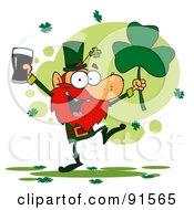 Dancing Leprechaun Holding A Shamrock And Beer