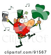 Royalty Free RF Clipart Illustration Of A Dancing Leprechaun Holding A Clover And Beer