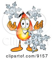 Clipart Picture Of A Flame Mascot Cartoon Character With Three Snowflakes In Winter