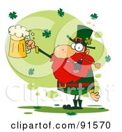 Royalty Free RF Clipart Illustration Of A Toasting Leprechaun Holding Up A Pint Of Beer