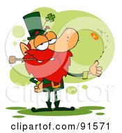 Royalty Free RF Clipart Illustration Of A Leprechaun Smoking A Pipe And Flipping A Lucky Coin by Hit Toon