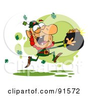 Royalty Free RF Clipart Illustration Of A Greedy Leprechaun Running Through Shamrocks With A Pot Of Golden Coins