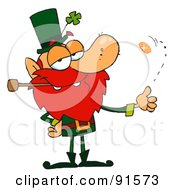 Royalty Free RF Clipart Illustration Of A Leprechaun Smoking A Pipe And Flipping A Gold Coin