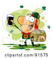 Royalty Free RF Clipart Illustration Of A Leprechaun Toasting Carrying A Keg And Toasting With A Glass by Hit Toon