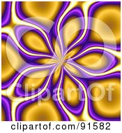 Royalty Free RF Clipart Illustration Of A Funky Orange And Purple Floral Vortex Background by Arena Creative