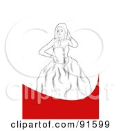 Royalty Free RF Clipart Illustration Of A Sketched Prom Girl Posing In A Dress On A Red And White Background