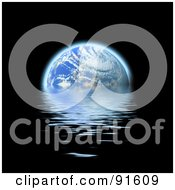 Royalty Free RF Clipart Illustration Of Earth Being Flooded By Dark Water Over Black