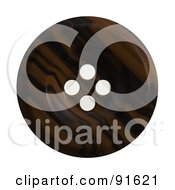 Royalty Free RF Clipart Illustration Of A Brown Clothing Button On White