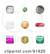 Royalty Free RF Clipart Illustration Of Colorful And Various Shaped App Buttons by Arena Creative