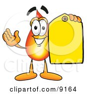 Flame Mascot Cartoon Character Holding A Yellow Sales Price Tag