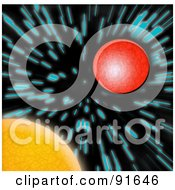 Royalty Free RF Clipart Illustration Of The Sun And Mars With Blurred Blue Stars by Arena Creative