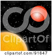 Royalty Free RF Clipart Illustration Of The Sun And Mars With Stars