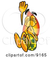 Flame Mascot Cartoon Character Plugging His Nose While Jumping Into Water