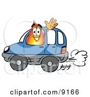 Flame Mascot Cartoon Character Driving A Blue Car And Waving