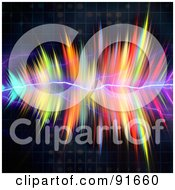 Royalty Free RF Clipart Illustration Of A Feathered Rainbow Fractal With Lightning On Black