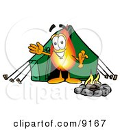 Flame Mascot Cartoon Character Camping With A Tent And Fire