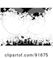 Royalty Free RF Clipart Illustration Of A White Wave Of Butterflies Over Black