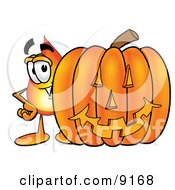 Flame Mascot Cartoon Character With A Carved Halloween Pumpkin