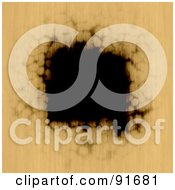 Royalty Free RF Clipart Illustration Of A Burnt Black Hole In Tan Paper